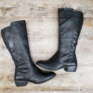Black Rose Embossed Printed Riding Boots